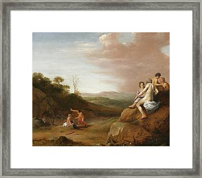 Diana And Her Nymphs With The Discovery Framed Print by Cornelis van Poelenburgh or Poelenburch
