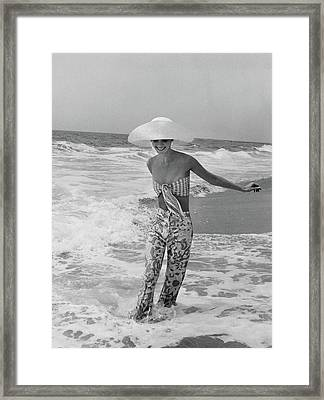 Diana Ewing Playing At A Beach Framed Print by Shannon John