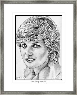 Diana - Princess Of Wales In 1981 Framed Print