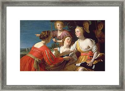 Diana Resting After The Hunt Oil On Canvas Framed Print by Gerrit van Honthorst
