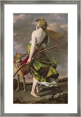 Diana The Hunter, C.1624-25 Oil On Canvas Framed Print by Orazio Gentileschi