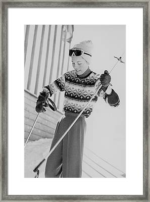 Diane Von Furstenberg Holding Ski Poles Framed Print