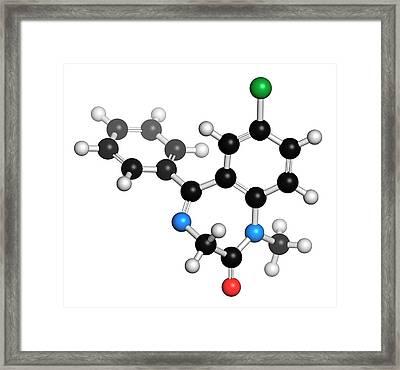 Diazepam Benzodiazepine Drug Molecule Framed Print