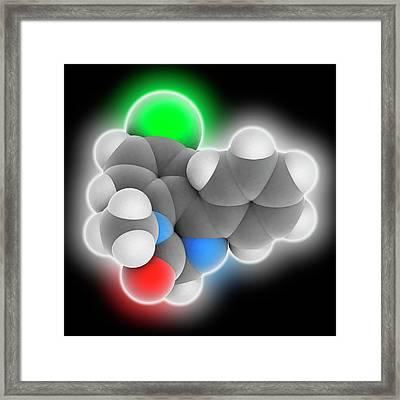 Diazepam Drug Molecule Framed Print by Laguna Design