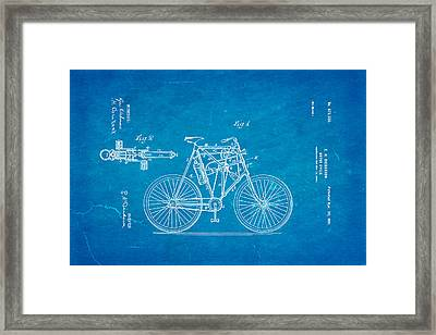 Dickerson Motor Cycle Patent Art 1901 Blueprint Framed Print by Ian Monk