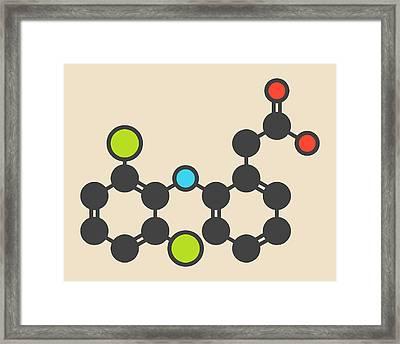 Diclofenac Inflammation Drug Molecule Framed Print by Molekuul