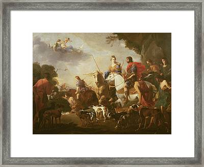 Dido And Aeneas Hunting Oil On Canvas Framed Print by Jan van Bike Miel