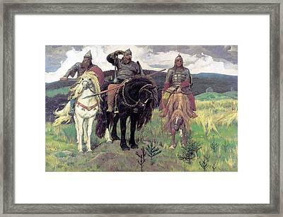 Die Drei Bogatyr By Viktor M Vasnetsov Framed Print