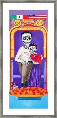 Diego Y Frida Xochimilco Framed Print by Evangelina Portillo