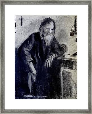 Framed Print featuring the drawing Dying Monk - Face To Faith by Eric Dee