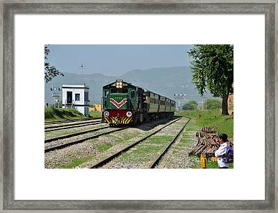 Framed Print featuring the photograph Diesel Electric Locomotive Speeds Past Student by Imran Ahmed