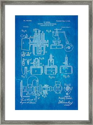 Diesel Internal Combustion Engine Patent Art 1898 Blueprint Framed Print