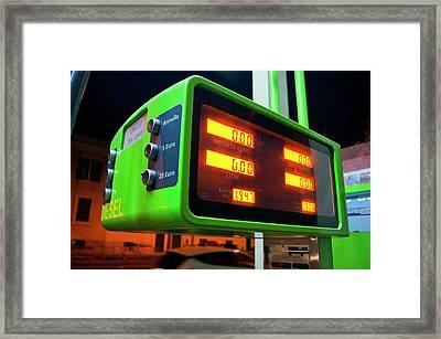 Diesel Pump In Rome. Framed Print