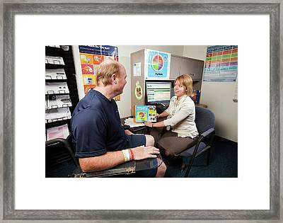 Dietician And Stroke Patient Framed Print by Stephen Ausmus/us Department Of Agriculture
