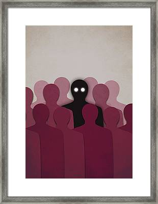 Different And Alone In Crowd Framed Print