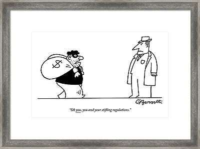 Digibuy A Robber With A $ Bag Speaks To A Police Framed Print