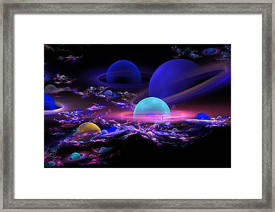 Digital Abstract Fractal Art Planet Spheres Framed Print by Keith Webber Jr
