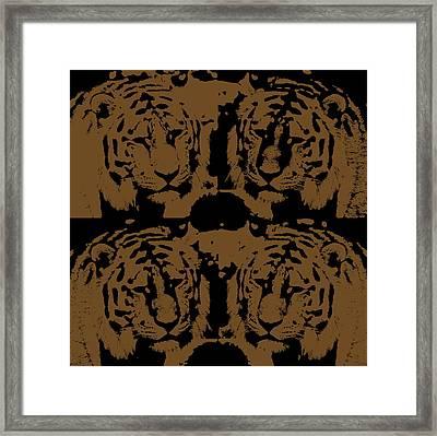 Digital Art Four Tigers Framed Print by Tommytechno Sweden