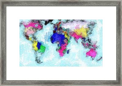 Digital Art Map Of The World Framed Print