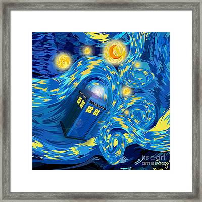 Digital Art Phone Booth Starry The Night Framed Print by Three Second