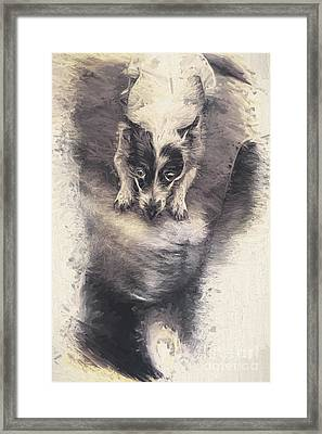 Digital Artwork Of A Mini Fox Terrier Dog Framed Print