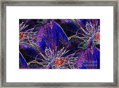 Digital Blue Purple Flowers Framed Print