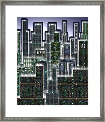 Digital Circuit Board Cityscape 3d - Glow Framed Print by Luis Fournier