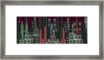 Digital Circuit Board Cityscape 5b - Wine Sky Framed Print by Luis Fournier