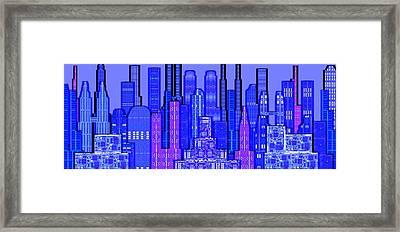 Digital Circuit Board Cityscape 5c - Blue Haze Framed Print by Luis Fournier