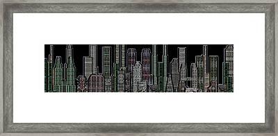 Digital Circuit Board Cityscape 5d - Blacktops Framed Print by Luis Fournier