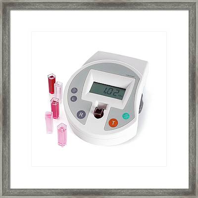Digital Colorimeter With Cuvettes Framed Print by Science Photo Library