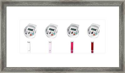 Digital Colorimeters With Cuvettes Framed Print by Science Photo Library