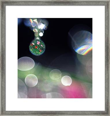 Digital Composite Abstract Of Dew Drops Framed Print