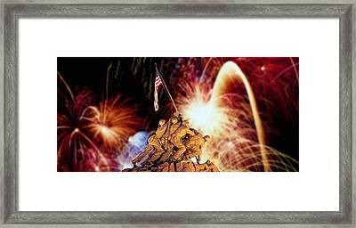Digital Composite, Fireworks Highlight Framed Print by Panoramic Images