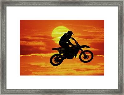 Digital Composite Of Motocross Racer Framed Print