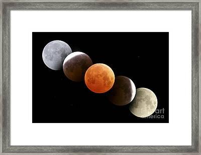 Digital Composite Of Total Lunar Framed Print by Alan Dyer