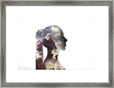 Digital Composite Of Woman And Cloudy Framed Print by Roman Nasedkin / Eyeem