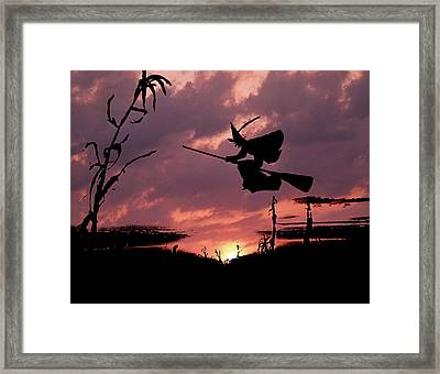 Digital Composite Sunset And Silhouette Framed Print