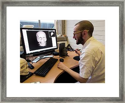 Digital Forensic Facial Reconstruction Framed Print by Louise Murray