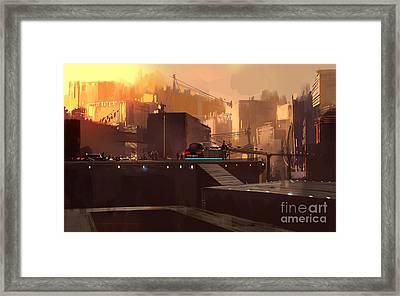 Digital Painting Showing Futuristic Framed Print
