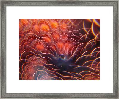 Digital Red Hearts On Fire Framed Print