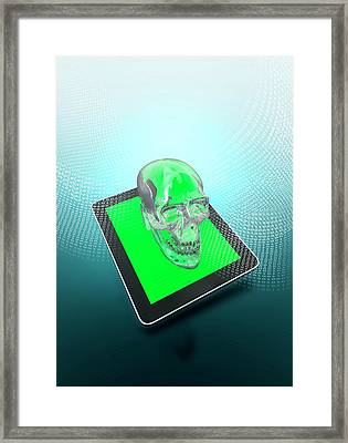 Digital Tablet With A Skull Framed Print by Victor Habbick Visions