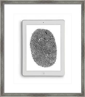 Digital Tablet With Finger Print Framed Print by Victor De Schwanberg