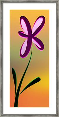 Digitally Created Dark Purple And Pink Flower Framed Print by Gina Lee Manley