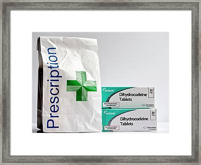 Dihydrocodeine Painkilling Drug Framed Print by Ian Gowland