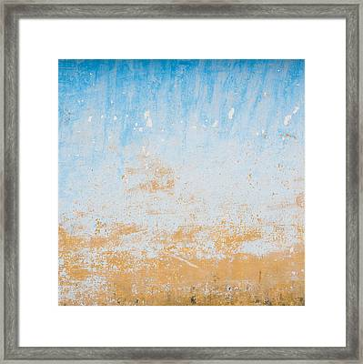 Dilapidated Beige And Blue Wall Texture Framed Print