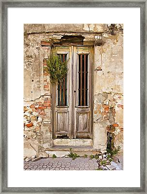 Dilapidated Brown Wood Door Of Portugal Framed Print by David Letts