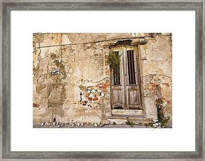 Dilapidated Brown Wood Door Of Portugal II Framed Print by David Letts