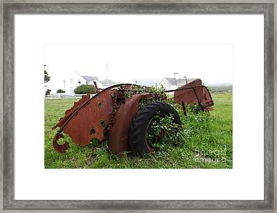 Dilapidated Farm Tractor At The Old Pierce Point Ranch In Foggy Point Reyes California 5d28120 Framed Print by Wingsdomain Art and Photography