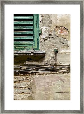 Dilapidated Green Wood Window Shutter II Framed Print by David Letts